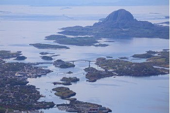 Torghatten seen from the mountains Mofjellet